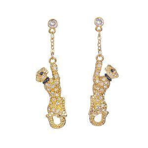 20K Gold Swarovski Panther Earrings